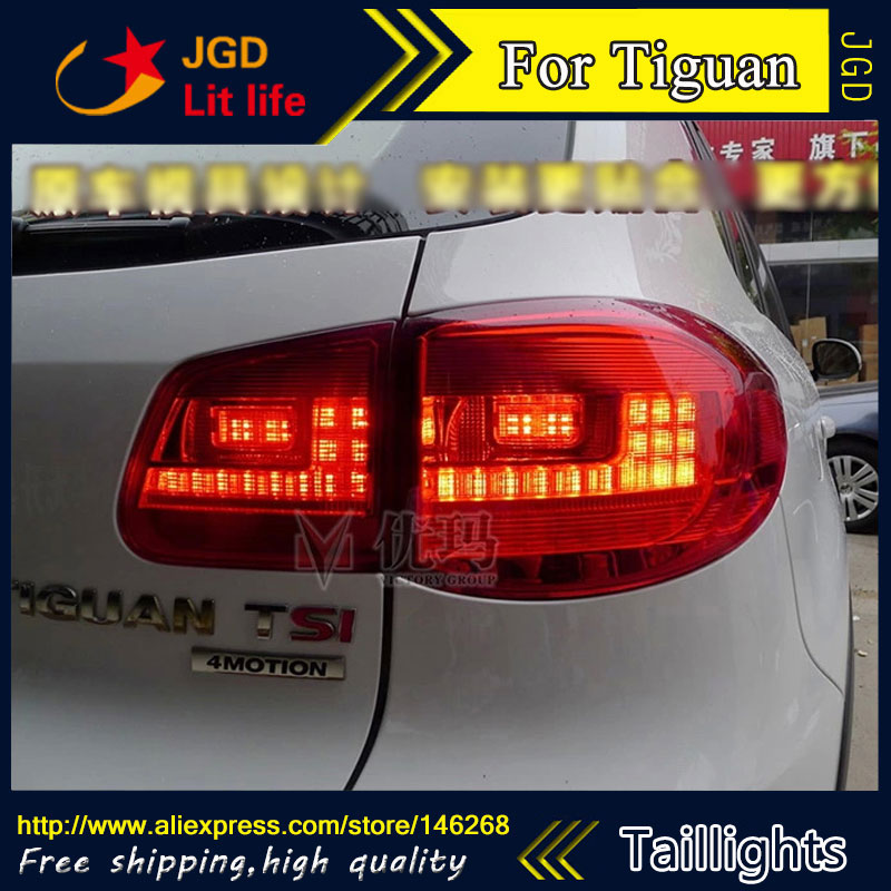 Car Styling tail lights for VW Tiguan 2010-2012 LED Tail Lamp rear trunk lamp cover drl+signal+brake+reverse car styling tail lights for toyota prado 2011 2012 2013 led tail lamp rear trunk lamp cover drl signal brake reverse