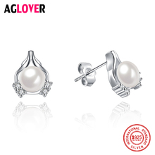 Pearl Earrings Jewelry 925 Sterling Silver White Heart Shaped Push-back Crystal Stud For Women Fashion