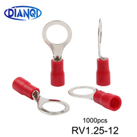 RV1.25 12 Red Circular Pre insulating Terminal(Type TO JTK) Cold pressed terminals/Cable Connector/Wire Connector 1000PCS/Pack