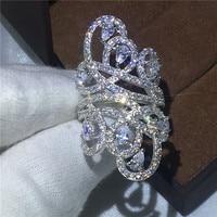 Victoria Wieck linha Cruzada Mulheres Diamonique Cz 925 Sterling Silver Engagement wedding band anel de Moda para as mulheres Big jóias