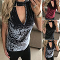 2017 New Fashion Women Velvet T-Shirts Top Sexy Women Tshirt Hollow Out Halter V-Neck Sleeveless Female T Shirts Loose