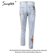 Simplee Vintage flower embroidery high waist jeans female Pocket straight jeans women bottom Light blue hole casual pants capris
