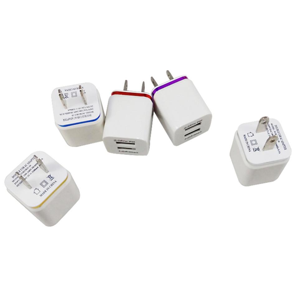 Us-stecker-adapter 2,1/1a 5 v dual usb us ladegerät ac handy-ladegerät für samsung...