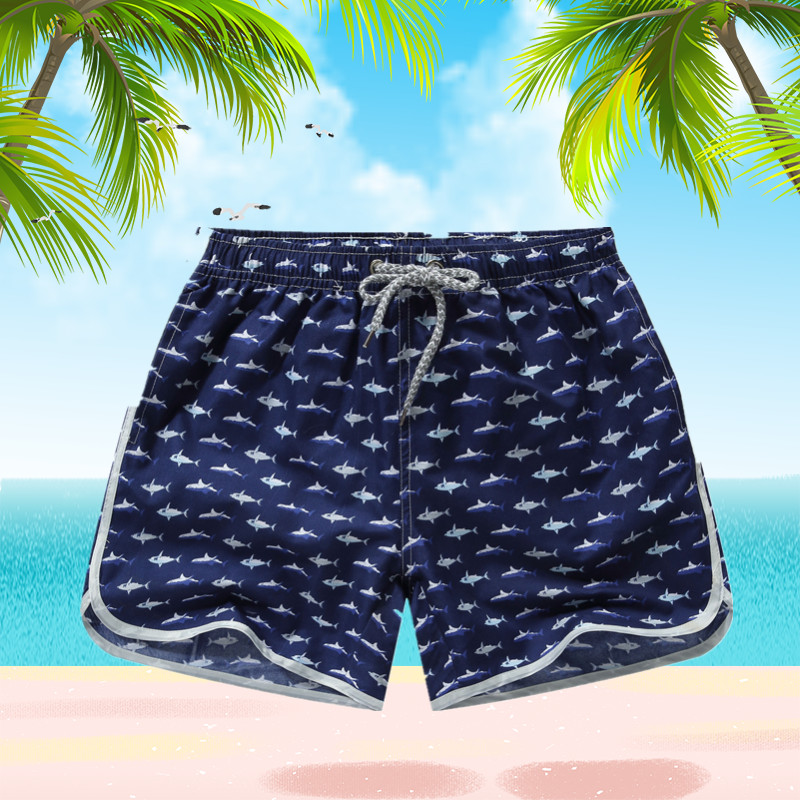 Beach Shorts Men Bottoms Quick Dry Shorts Printing Swimming Surfing Shorts Summer Draw String Elastic Waist Shorts Men