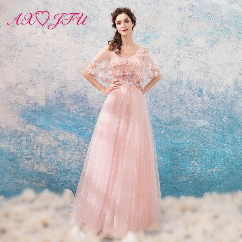 AXJFU Pink lace beading luxury   evening     dress   princess strapless dubai beading pink flower vintage   evening     dress   1891t