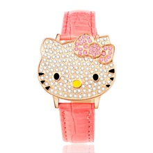 2016 new design quart movement fashion cute hello kity watch for children gift