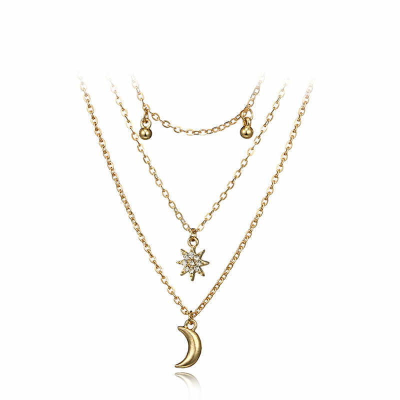 2018 nowych moda Trendy wielowarstwowe koraliki gwiazda księżyc wisiorki naszyjniki dla kobiet dziewczyna długie naszyjniki na prezenty Bijoux Femme R5