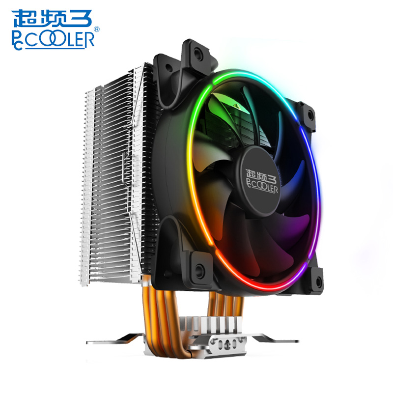PCCOOLER CPU Cooler LED Cooling Fan Copper 12cm 4Pin Heats Pipes PC Case Radiator Fans For Intel LGA 775 115X 2011 2066 20XX original soplay for amd all series intel lga 115x cpu cooler 4 heatpipes 4pin 9 2cm pwm fan pc computer cpu cooling radiator fan