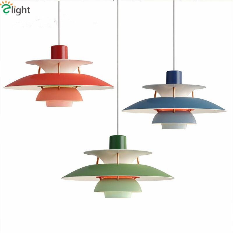 En Métal peint Louis Poulsen PH5 Led Pendentif Lumière Colorée Dia50cm Parapluie Conception Salle À Manger Bar Pendentif Lumière