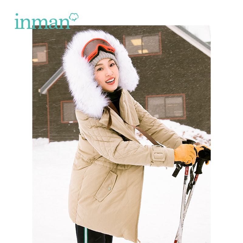 INMAN Winter New Arrival Female Hooded Fur Collar Casual Medium And Long Term   Down     Coat