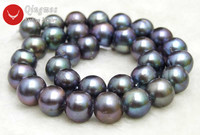 Qingmos 12 13mm Black Pearl Loose Beads for Jewelry Making with Natural Round Freshwater Pearl Beads Strands 14 lo178 Free Ship
