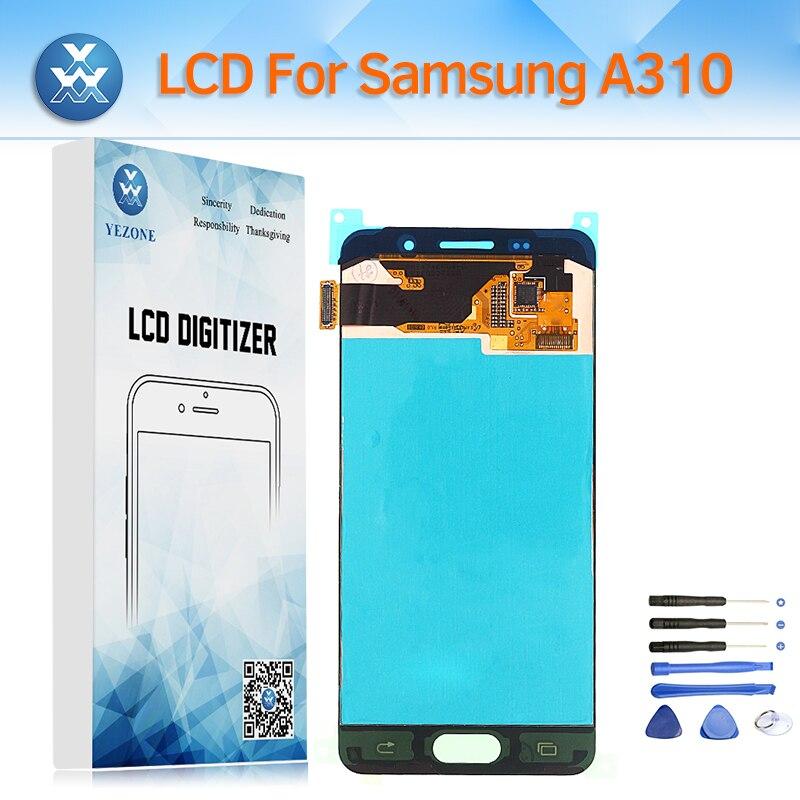 Super AMOLED Affichage pour Samsung Galaxy A310 A3 2016 SM-A310F A310H A310M LCD Écran Tactile Digitizer Assemblée Verre De Réparation + outil