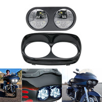 Dual Black 6000K LED Daymaker Projector Headlight Bulb Assembly For Harley Road Glide Led Headlight