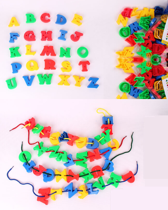 JingQi plastic toy baby birthday gift letter beads shape DIY threading building block educational blocks 1 bag free shipping
