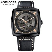 Agelocer Swiss Mens Sport Watches Automatic Skeleton Watch Steel Waterproof Mechanical with Gift Box reloj hombre 5603J3
