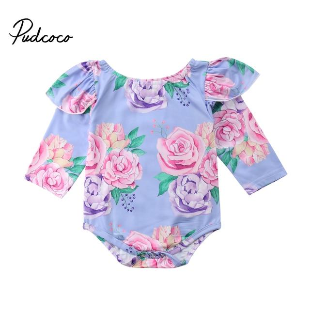 9bc39d88e8ee Floral Newborn Baby Girl Long Sleeve Ruffles Princess Girls Romper ...