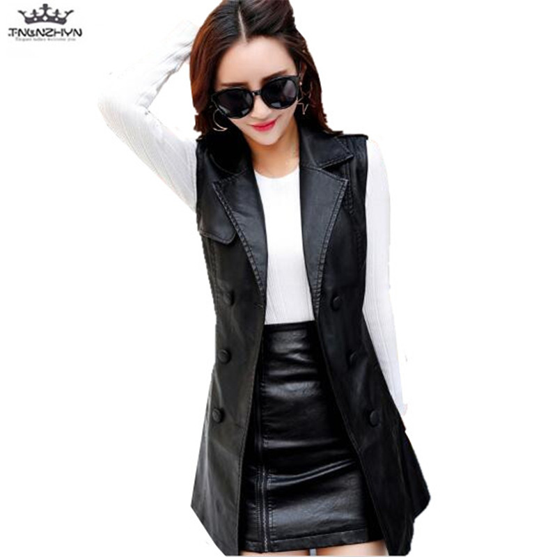 tnlnzhyn 2019 New Spring Autumn Women leather Vest Waistcoat Fashion Double breasted PU Vest Coat long leather Outerwear Y1143