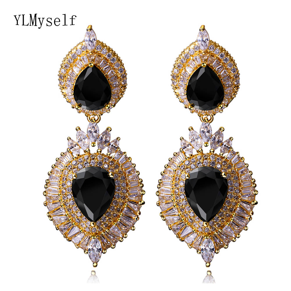 Big luxury tearDrop earrings fashion Gold-color pave Black champagne crystal orecchini large earring for party sellsets vintage silver color teardrop earring pave full black cz rhinestone and imitation pearl drop earrings for wedding party