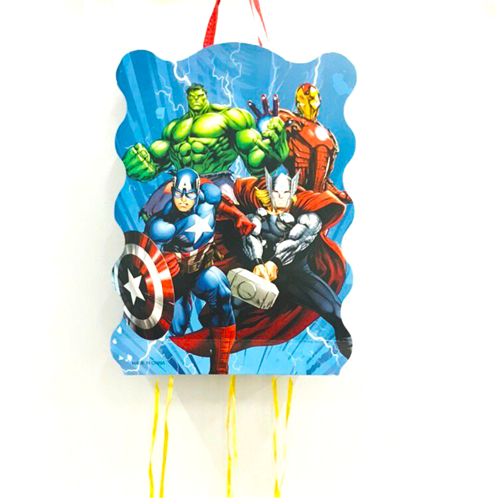 40*30cm Avenger Party Supplies Paper Pinata Disposable Cartoon Theme Baby Shower Kids Birthday Superhero Party Decoration Favor