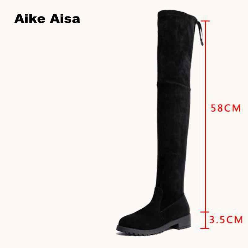 Taille 35-41 hiver au-dessus du genou bottes femmes Stretch tissu cuisse haute Sexy femme chaussures Long Bota Feminina zapatos de mujer #66