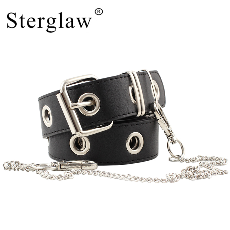 108x3.1cm New personality chain decorative   belt   women Jeans   belts   2019 A woman's Vintage rivets leather   belt   female strap N115