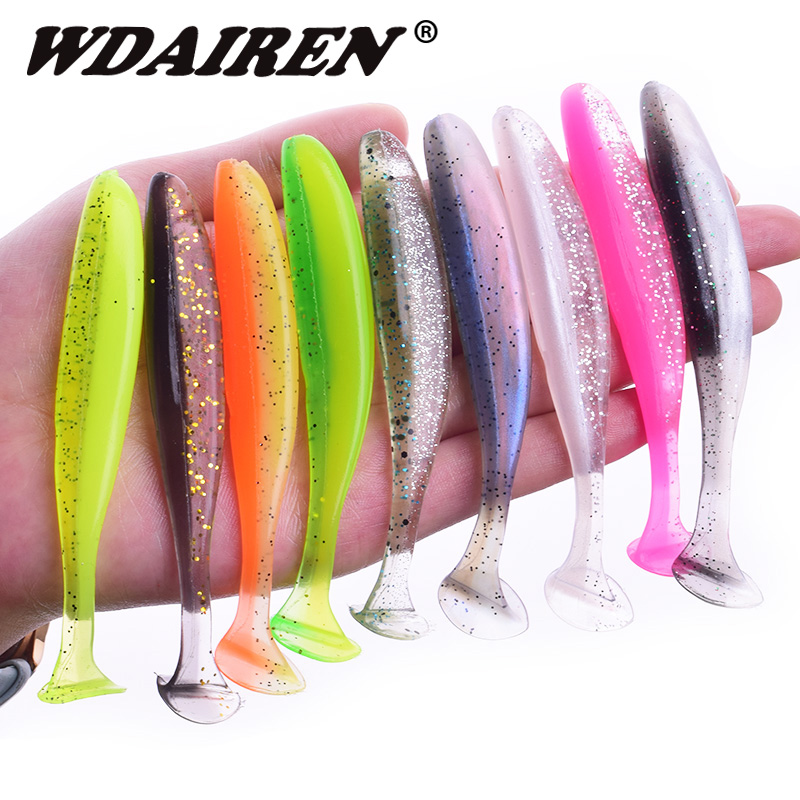 WDAIREN Jigging Wobbler Fishing Lures 95mm 75mm 50mm Easy Shiner T Tail Soft Baits Carp Fishing Paddle Silicone Bait Jerkbait
