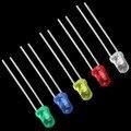 100 unids 3mm Luz Led Blanco Rojo Verde Azul Amarillo LED Bombilla de luz de Diodos Emisores de Lámparas A Estrenar Super Brillante Surtidos Kit