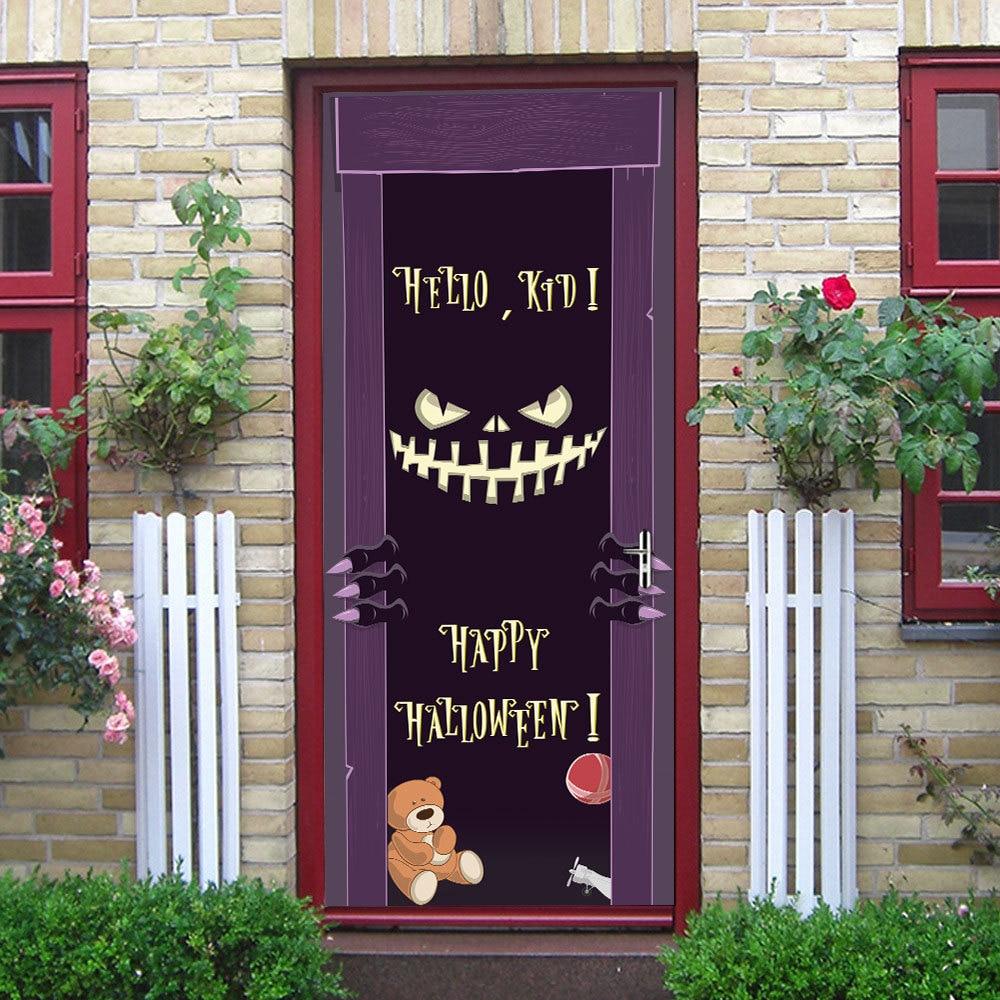 Demon Halloween Door Stickers Waterproof Door Decorative Decals Self Adhesive Home Decor Mural