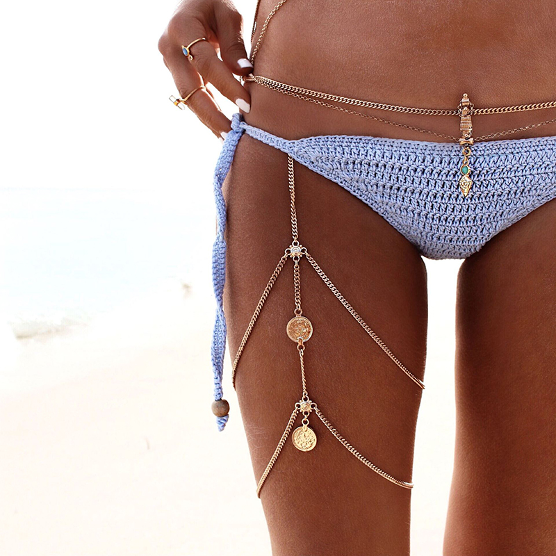 Vintage Antique Silver Coin Chain Waist Thigh Chain Necklace Gold Bikini Beach Harness Bobo Jewelry