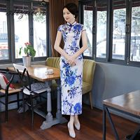 Sexy Cheongsam Long Qipao Blanc Porcelaine Dresses Casual Chinese Traditional Evening Gown Cheap Summer Dress Women Silk Flower