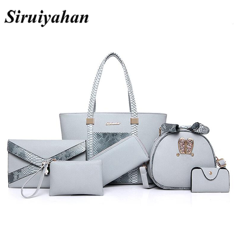 6pcs Women pu Handbags 2018 Ladies Shoulder Bag Female Casual Tote Women Messenger Bag Set Bolsas Feminina Crossbody Sac a Main assez sac women handbags pu leather bags women handbags crossbody flower printed bag single shoulder bag clutch ladies bolsas