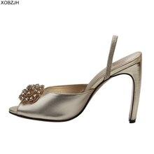 Women Shoes luxury Sandals Summer High heels 2019 Brand Designer G Rhinestone Gold Ladies wedding Woman