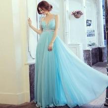 Perlen Chiffon Reich Taille Eine Linie Abendkleider Schatz Straps Plissee Pailletten Ganzkörperansicht Light Sky Blue Formalen Kleid