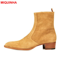 MIQUINHA Luxury Brand Yellow Pointed Toe Leather Men Boots Fashion Cool Men Short Booties Super Star Runway Party Dress Shoes