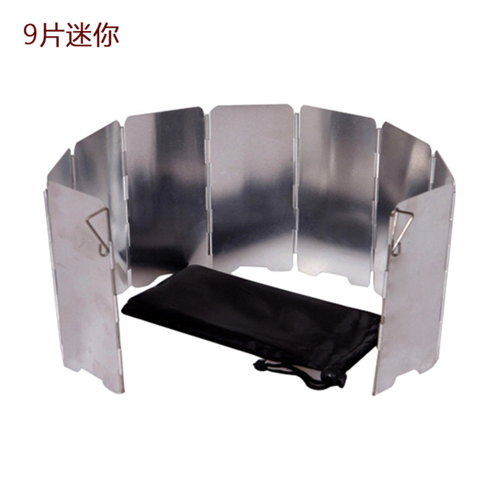 Strong Durable 9 Plate Foldable Stove Wind Shield Outdoor Camping Cooking Gas Stove Wind Screen Windshield Outdoor Camping Tool