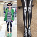 2016 Women Girls Black Cotton Sexy  Punk Soft Fancy Trendy Fashion Skeleton Bone Printed Pants Leggings Leggings