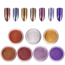 2g/jar Nail Mirror Powder Glitter Chrome Rose Gold/Purple/Silver Color Art Decoration Tools,10 Colors