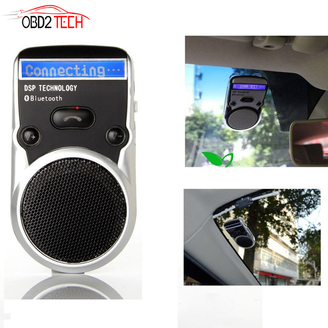 US $20 89 5% OFF| Wireless Bluetooth Handsfree Car Kit For Mobile Phone  Dual Phone Connect Solar Powered Speakerphone With LCD Display-in Bluetooth