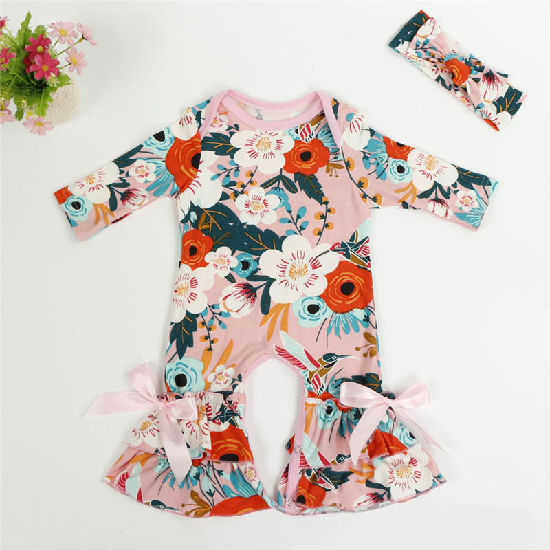 c8451867537 Autumn Boutique Infant Toddler Clothes Long Sleeve Baby Icing Ruffled Leg  Romper Twins Floral Bow-