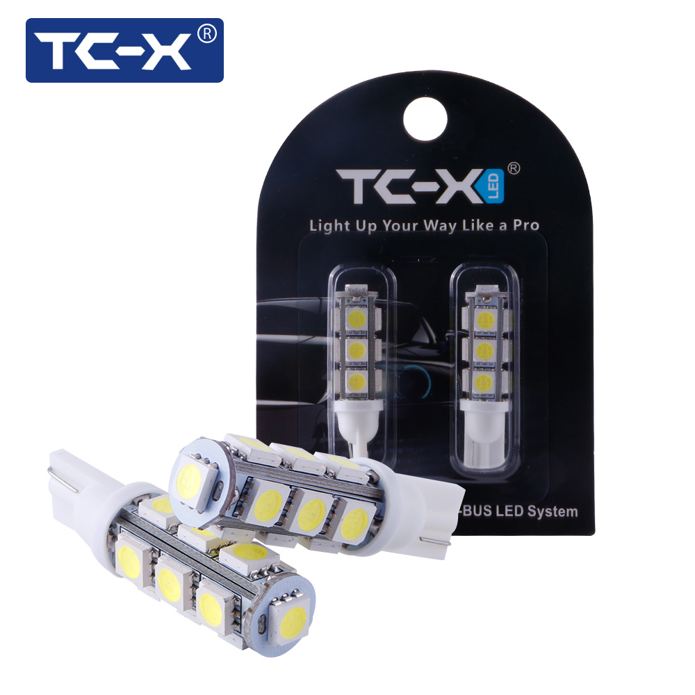 цена на 1 Pair 13SMD T10 W5W LED Car Light Bulb High Quality Auto Side 13 LEDS Wedge Dome Lamp 5050 194 168 192 Cold White Lighting