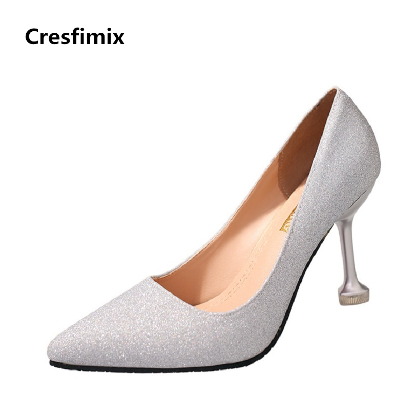 Cresfimix zapatos de mujer women cute 7cm high heel pumps lady casual slip on summer high heels female comfortable silver shoes women cool mesh breathable shoes female sport and outdoor soft bottom shoes lady casual slip on shoes zapatos de mujer