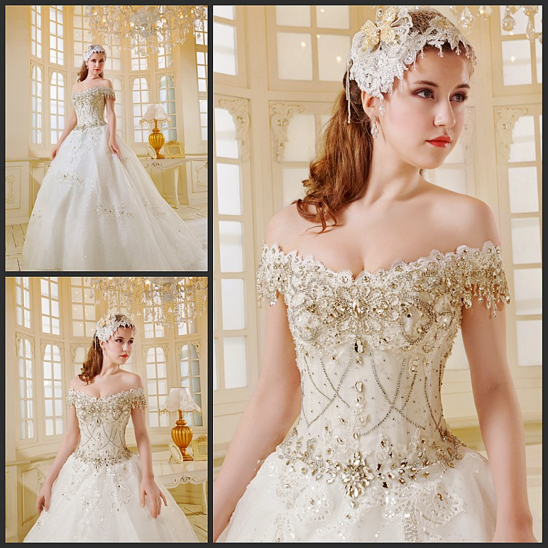 Extravagant Sparkling Ball Gowns Lace Up Back Design
