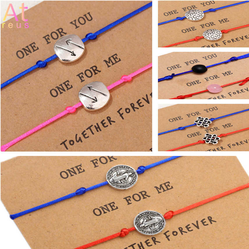 2pcs/set Together Forever Love Jesus Arrow Knot Bracelet for Lovers Red String Couple Bracelets Women Men Wish Card Jewelry Gift