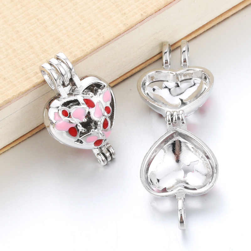 6pcs Colored Pearl Beads Cage Essential Oil Diffuser Locket Pendant DIY Heart - butterfly Jewelry Making for Oyster Pearl Cage