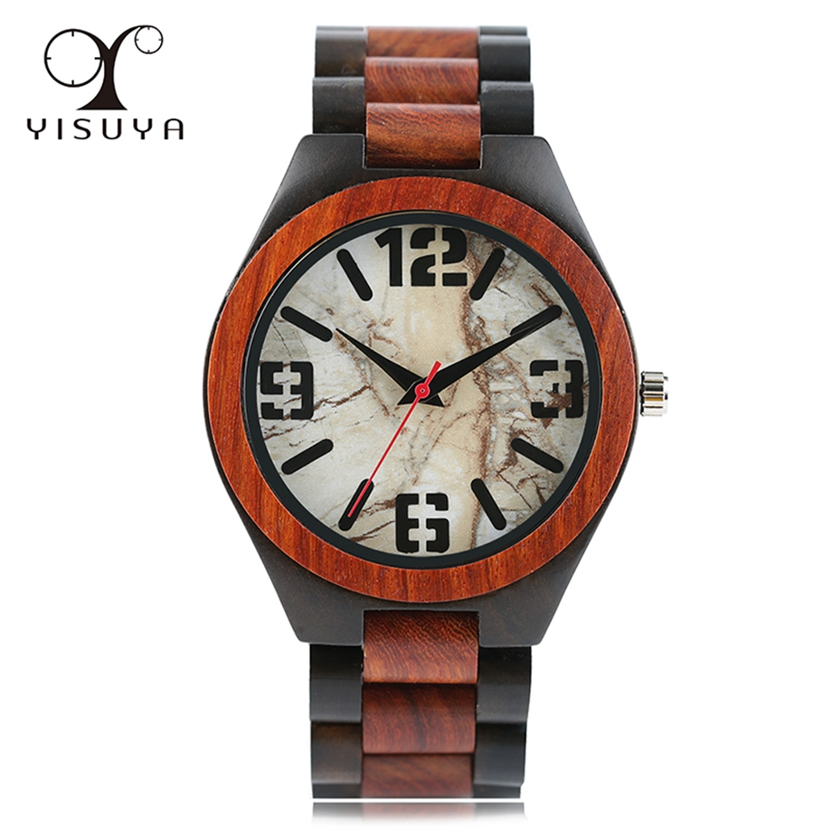 Full Wooden Wrist Watch Fashion Creative Marble Stripe Men Watches Wood Strap Quartz Analog Clock Gifts relogio masculino redear vintage full wood wrist watches men watch ebony bamboo wooden watches wood strap men s watch japanese movement clock saat