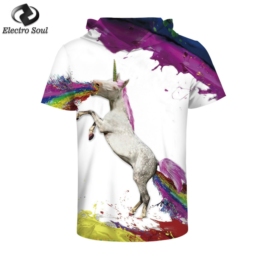 Rainbow Horse Digital printing machine Attract the attention of the clothes O-neck Casual Hip Hop Plus Size Style