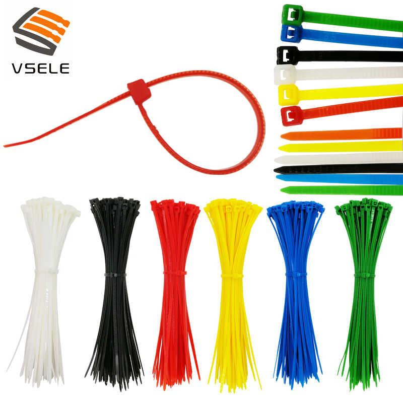 100 adet/paket kendinden kilitleme kablosu bağları 3*100mm genişlik 2.5mm 6 renk plastik zip bağ teli bağlama wrap sapanlar ilk toplu naylon
