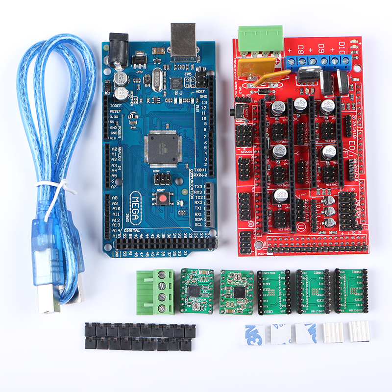 Mega 2560 R3 + 1pcs RAMPS 1.4 Controller + 5pcs A4988 Stepper Driver Module for 3D Printer Kit Reprap MendelPrusa Free Shipping