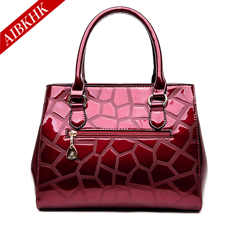 Patent Leather New Fashion High Quality Women Handbags Ladies Shoulder Bags Female Girl Stone European Famous Brand Luxury Bag hot sale 2016 france popular top handle bags women shoulder bags famous brand new stone handbags champagne silver hobo bag b075