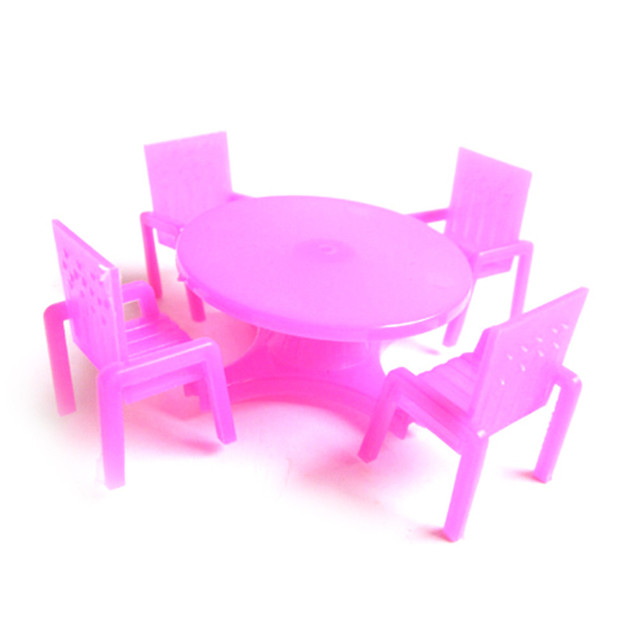 1:12 Dollhouse Miniature Rose Dining Table and Chairs 5 pcs Set